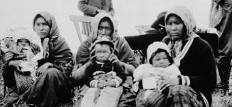 MIKAN 3193380 Three proud mothers with their prize winning babies. Picture taken at Trout Lake during Treaty 9 payments on July 1929. July 1929 [Three proud mothers with their prize winning babies. Picture taken at Trout Lake during Treaty 9 payments on July 1929., July 1929]