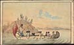 MIKAN 2838040 Hudson's Bay Company officials in an express canoe crossing a lake. ca. 1825 [Hudson's Bay Company officials in an express canoe crossing a lake., ca. 1825]