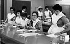 MIKAN 3603629 Nurse is instructing students at the University of Alberta Hospital. c 1955 [Nurse is instructing students at the University of Alberta Hospital., c 1955]