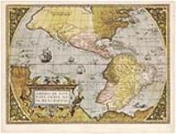 MIKAN 4143460 Americae sive orbis, nova descriptio. Cum privilegio. [cartographic material]. [1571]. [Americae sive orbis, nova descriptio. Cum privilegio. [cartographic material]., [1571].]