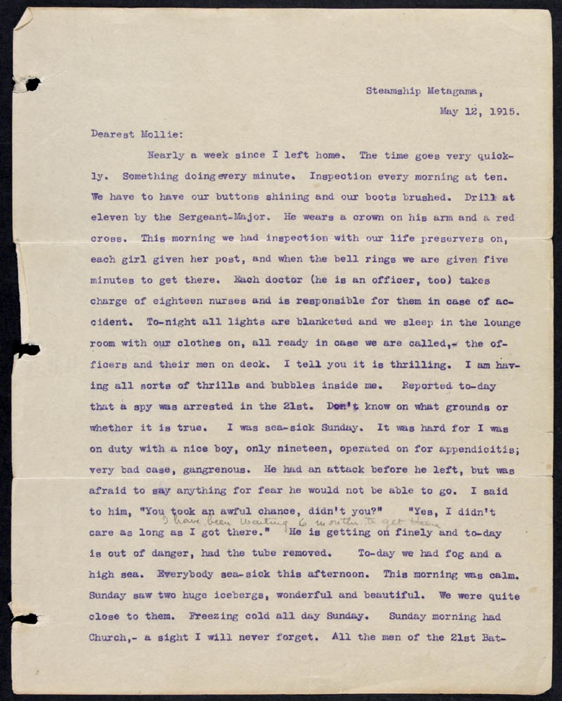 Letter - 12/05/1915 to Mollie, Volume Number: , Page Number: 1
