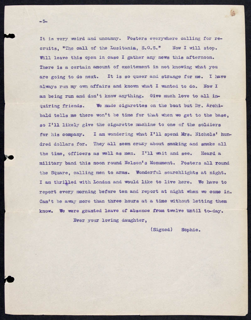 Letter - 13/05/1915 to Mother, Volume Number: , Page Number: 5