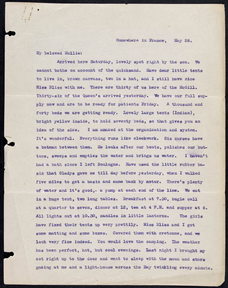 Letter - 26/05/1915 to Mollie, Volume Number: , Page Number: 1