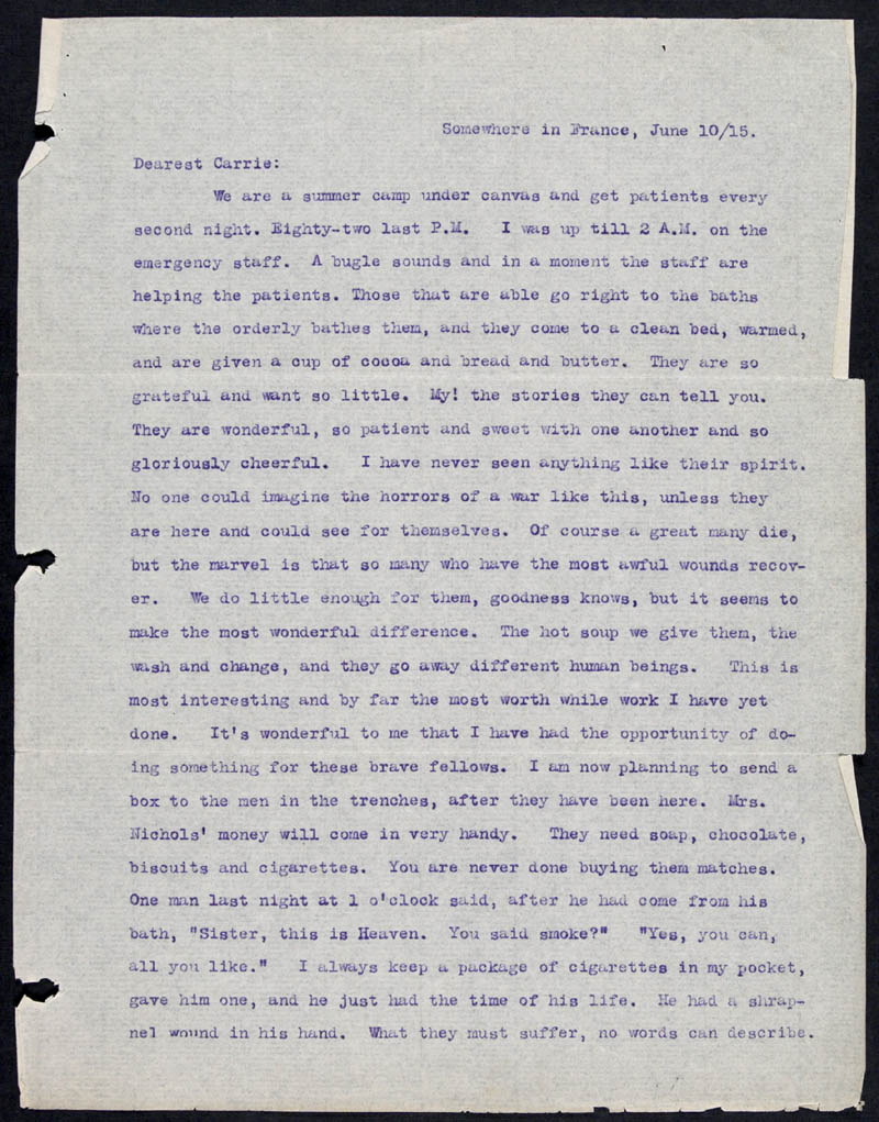 Letter - 10/06/1915 to Carrie, Volume Number: , Page Number: 1