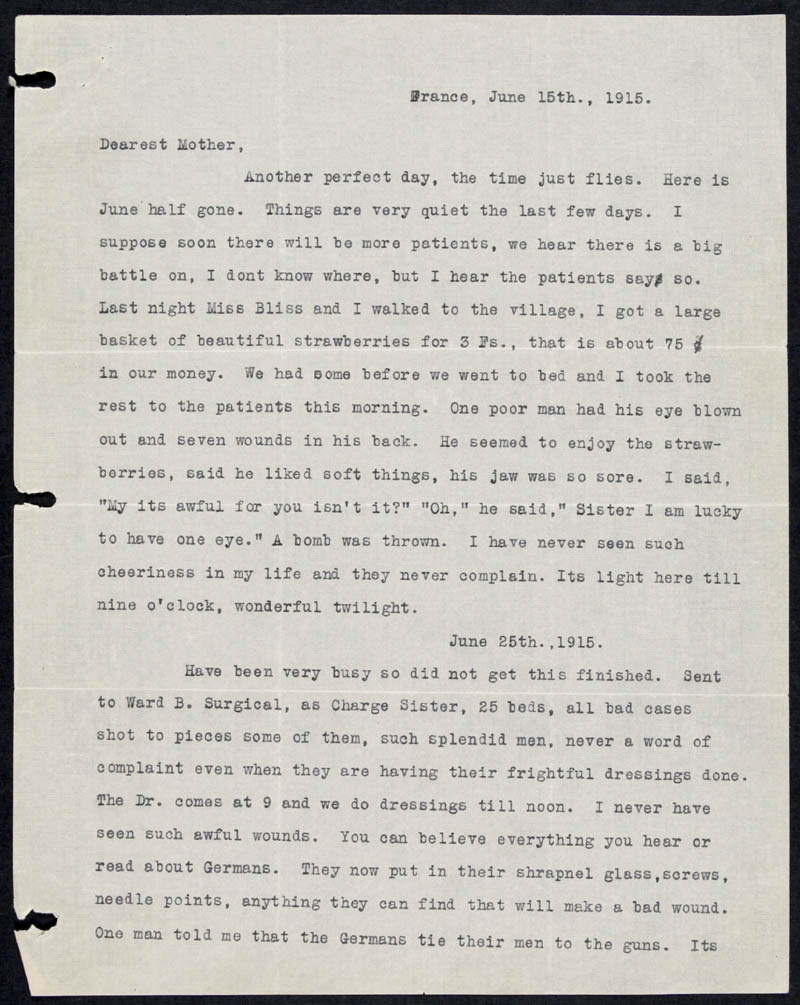 Letter - 15/06/1915 to Mother, Volume Number: , Page Number: 1