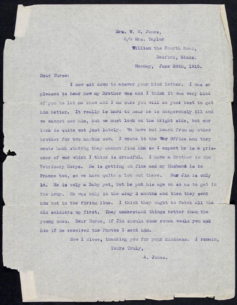 Letter - 28/06/1915 to Nurse, Volume Number: , Page Number: 1
