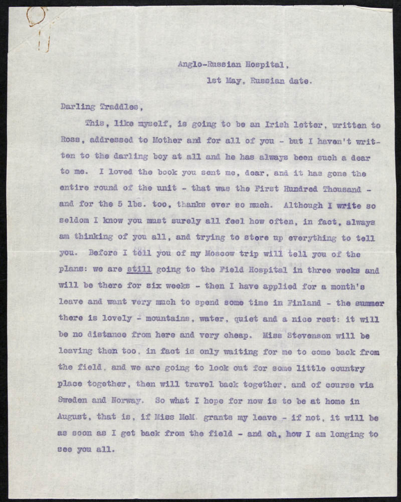 Letter - 01/05/???? to Traddles, Volume Number: , Page Number: 1
