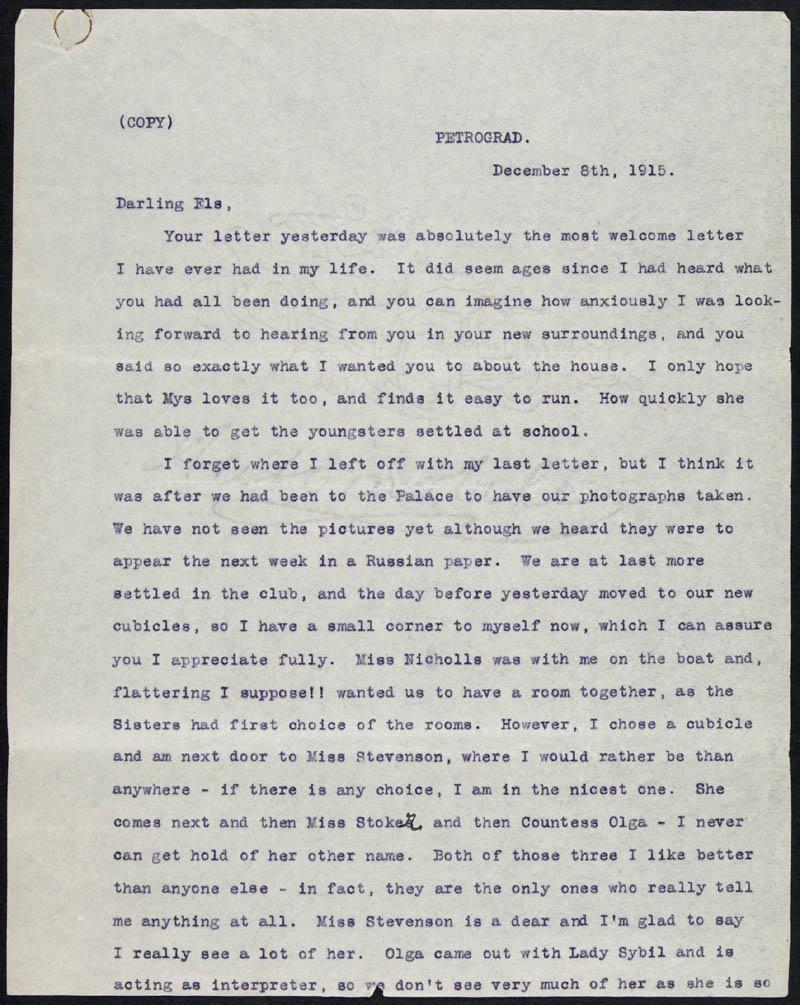 Letter - 08/12/1915 to Els, Volume Number: , Page Number: 1