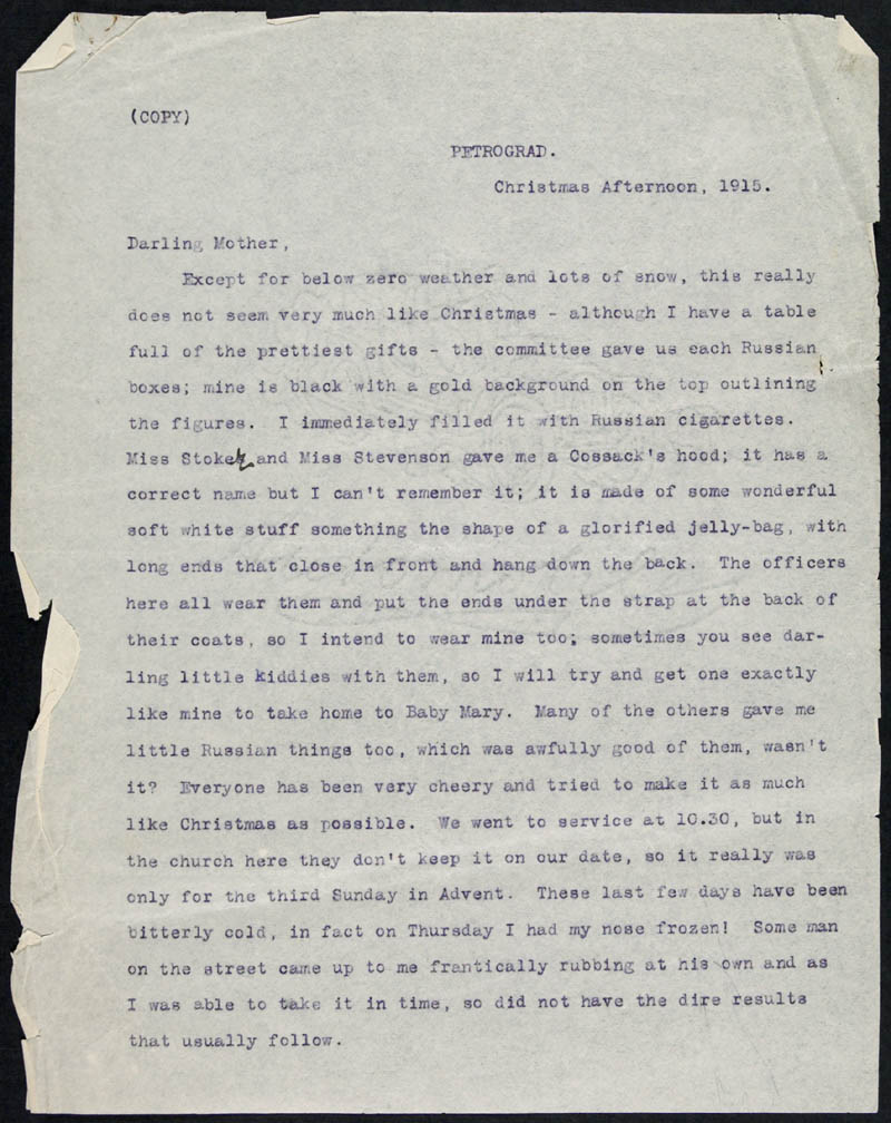 Letter - 25/12/1915 to Mother, Volume Number: , Page Number: 1