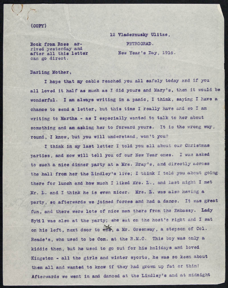 Letter - 01/01/1916 to Mother, Volume Number: , Page Number: 1