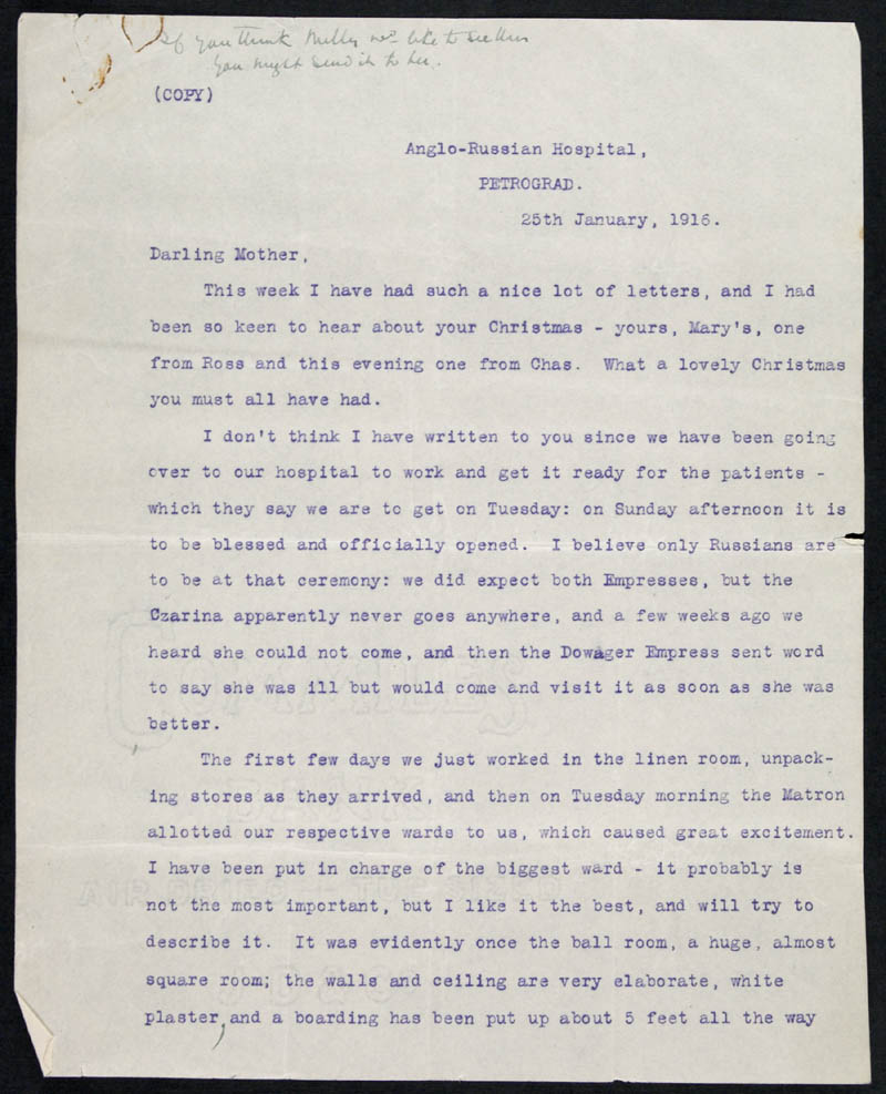 Letter - 25/01/1916 to Mother, Volume Number: , Page Number: 1