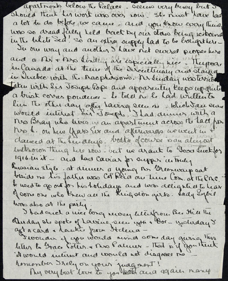 Letter - To Mrs. Harry Peck, Volume Number: , Page Number: 2