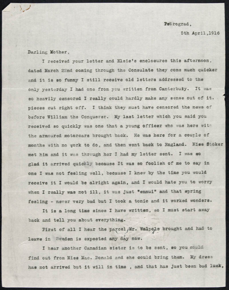 Letter - 05/04/1916 to Mother, Volume Number: , Page Number: 1