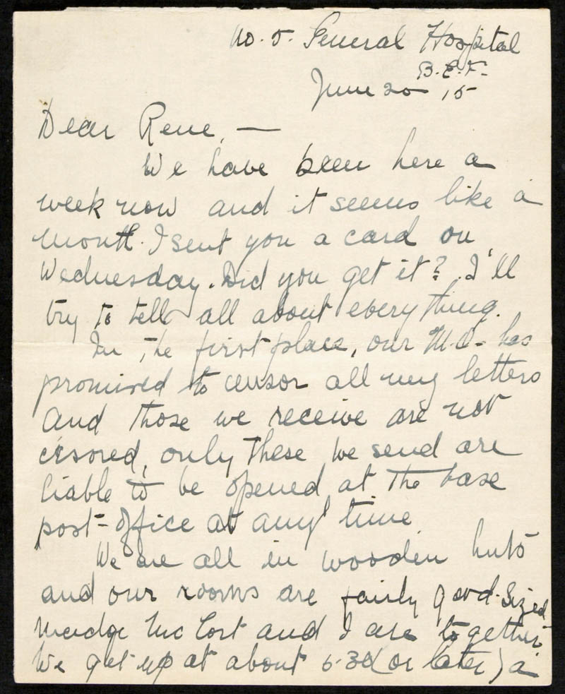 Letter - 20/06/1915 to Irene, Volume Number: , Page Number: 1