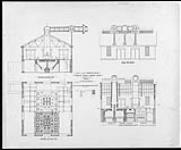 MIKAN 4939399 Plan of gas producer house - East elevation. Section on line PQ - section on line NO - section building on line l'K' [technical drawing] 1884. [84 KB, 600 X 495]