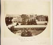 MIKAN 3819407 Page from the Marchioness of Dufferin and Ava album with a view from the top of the tobogganing slide at Government House (Rideau Hall)  . 1878. [90 KB, 600 X 501]