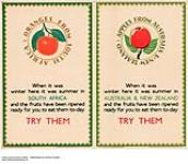 MIKAN 2974157 Oranges from South Africa, Apples from Australia & New Zealand, - Try Them. 1926-1934. [205 KB, 1000 X 869]