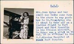 MIKAN 5196002 [Jean Nyhus holding her son Dwayne while Dr. Tron Nyhus boards a plane]. 1956 [[Jean Nyhus holding her son Dwayne while Dr. Tron Nyhus boards a plane]., 1956]