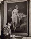 MIKAN 5196042 [Man seated below a painting of a nude woman]. 1953 [[Man seated below a painting of a nude woman]., 1953]