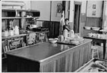 MIKAN 4322282 Young Aboriginal boy standing in the kitchen of the old Nursing Station, Aklavik, NWT. 1975 [151 KB]