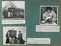 MIKAN 4326919 Album page twenty-seven with photographs of S.J. Bailey and an Inuit child coming out of a tent, an Inuk [John Pangniq, son of Hijerq] reading a letter written in syllabics, and Mr. and Mrs. Ledyard (missionaries for the Northern Evangelical society) teaching four Inuit children how to read and write, in Arviat (formerly Eskimo Point), Nunavut   1948. [Album page twenty-seven with photographs of S.J. Bailey and an Inuit child coming out of a tent, an Inuk [John Pangniq, son of Hijerq] reading a letter written in syllabics, and Mr. and Mrs. Ledyard (missionaries for the Northern Evangelical society) teaching four Inuit children how to read and write, in Arviat (formerly Eskimo Point), Nunavut, 1948.]