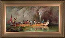MIKAN 2894967 Voyageurs franchissant une cascade en canot. 1869 [Voyageurs franchissant une cascade en canot., 1869]