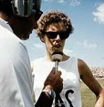 MIKAN 4814171 Canada's Abby Hoffman being interviewed at the 1967 Pan Am Games in Winnipeg. 1967. (Abby Hoffman participant à une entrevue) [143 KB, 1000 X 1017]