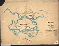MIKAN 2148323 Plan of the mill site and islands at the falls of the River Sault St. Mary, also showing part of the town plot of St. Mary's. 1857. [Plan of the mill site and islands at the falls of the River Sault St. Mary, also showing part of the town plot of St. Mary's., 1857.]