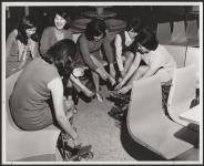 "MIKAN 5188884 With bowling over, the girls crack jokes about their ""fantastic"" scores. [ca. 1969] [With bowling over, the girls crack jokes about their 'fantastic' scores., [ca. 1969]]"