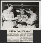 MIKAN 5188932 [Huron college meet. Mrs. M. Jamieson, Mrs. M. Burnham and Mrs. L. Nadjiwon examining a piece of handicraft]. [ca. 1962] [[Huron college meet. Mrs. M. Jamieson, Mrs. M. Burnham and Mrs. L. Nadjiwon examining a piece of handicraft]., [ca. 1962]]