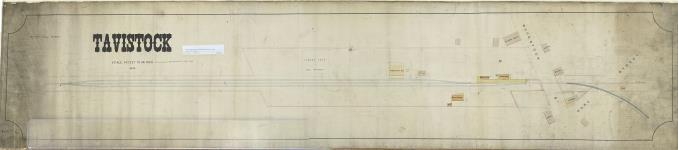 MIKAN 4314459 [Map of railway line through Tavistock Ontario]. April 1893. [[Map of railway line through Tavistock Ontario]., April 1893.]