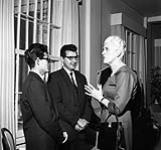MIKAN 3345092 [Inuit and Indigenous delegates meeting Governor General Vanier, and his wife Pauline Vanier, at Rideau Hall]  10 November 1960. [[Inuit and Indigenous delegates meeting Governor General Vanier, and his wife Pauline Vanier, at Rideau Hall], 10 November 1960.]
