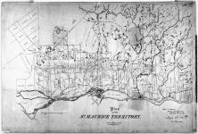 Plan of St Maurice Territory. Woods & Forests, Crown Land Department, Toronto, 4th April 1856. Joseph Cauchon, Comr. Crown Lands. [cartographic material].