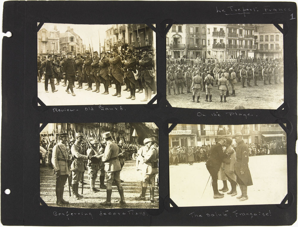 Page 1 of First World War nursing sister Alice Isaacson's photo album showing people, places and events in England, France, Italy, Belgium, Ireland and Spain, 1916-1919