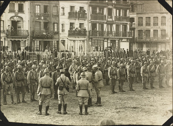 Photograph of French soldiers on parade, Le Tréport, France, ca. 1916-1917