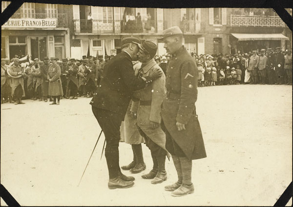 Photograph of French soldiers greeting one another, Le Tréport, France, ca. 1916-1917