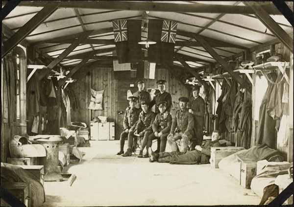 Photograph of a group of men in the orderlies' quarters, No. 2 Canadian General Hospital, Le Tréport, France, 1917