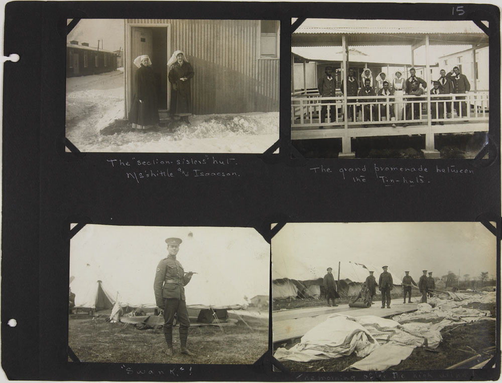 Page 15 of First World War nursing sister Alice Isaacson's photo album showing people, places and events in England, France, Italy, Belgium, Ireland and Spain, 1916-1919