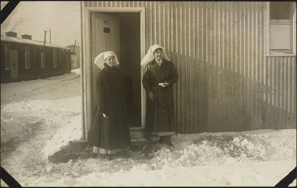 Photograph of nursing sisters Kathleen Little (left) and Alice Isaacson (right), No. 2 Canadian General Hospital, Le Tréport, France, 1917