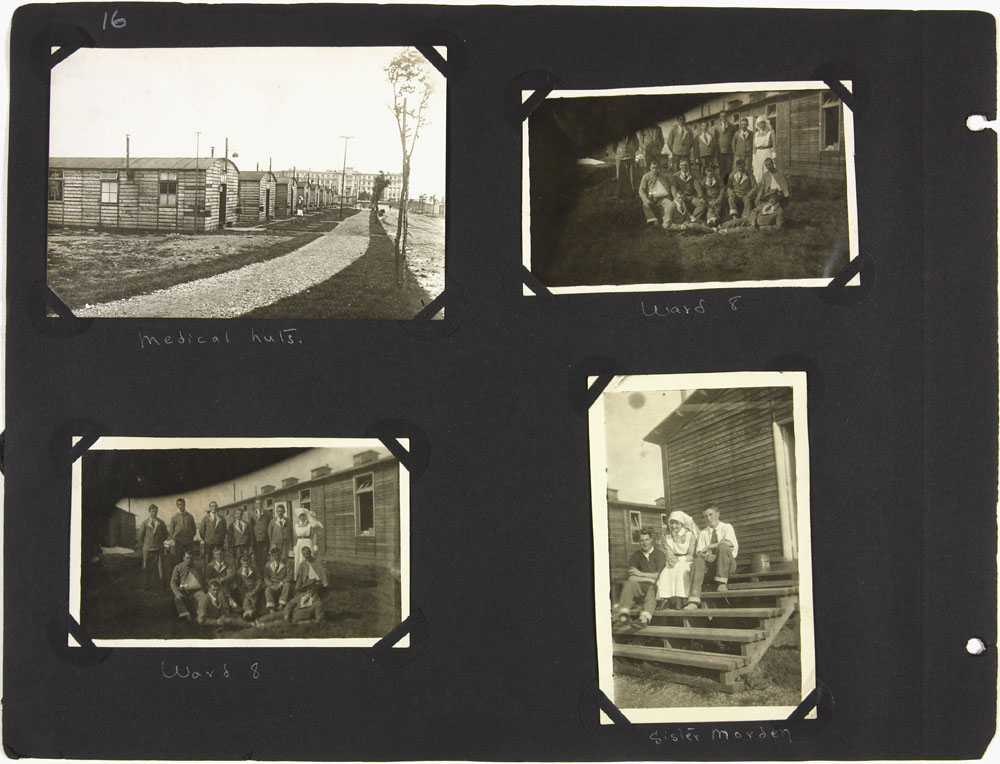 Page 16 of First World War nursing sister Alice Isaacson's photo album showing people, places and events in England, France, Italy, Belgium, Ireland and Spain, 1916-1919