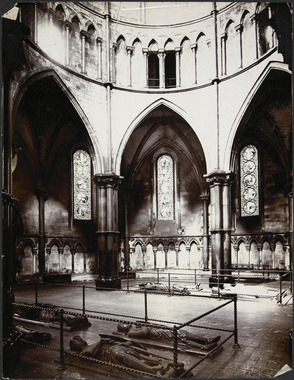 Photograph of an interior view of tombs of the Crusaders in the Temple Church, London, England, unknown date