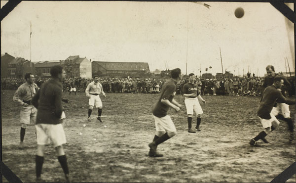 Photograph of a rugby match, Dominion Day Sports, No. 2 Canadian General Hospital, Le Tréport, France, July 2, 1917