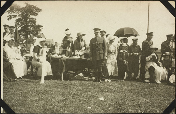 Photograph of awarding the prizes, Dominion Day Sports, No. 2 Canadian General Hospital, Le Tréport, France, July 2, 1917