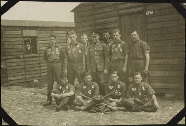 Photograph of the No. 2 Canadian General Hospital, baseball team, Dominion Day Sports, Le Tréport, France, July 2, 1917