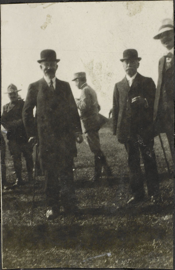 Photograph of the Mayor of Le Tréport and other unidentified men, Dominion Day Sports, No. 2 Canadian General Hospital, Le Tréport, France, July 2, 1917