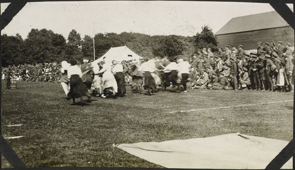 Photograph of nursing sisters competing in an egg and spoon race, Dominion Day Sports, No. 2 Canadian General Hospital, Le Tréport, France, July 2, 1917
