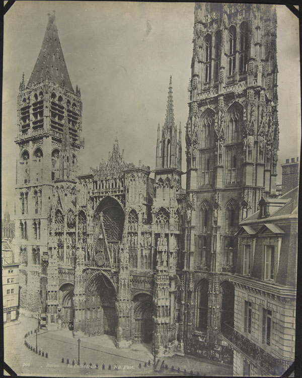 Photograph of the façade of Notre Dame Cathedral, Rouen, France, unknown date
